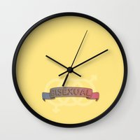 bisexual Wall Clocks featuring Bisexual Pride by discojellyfish