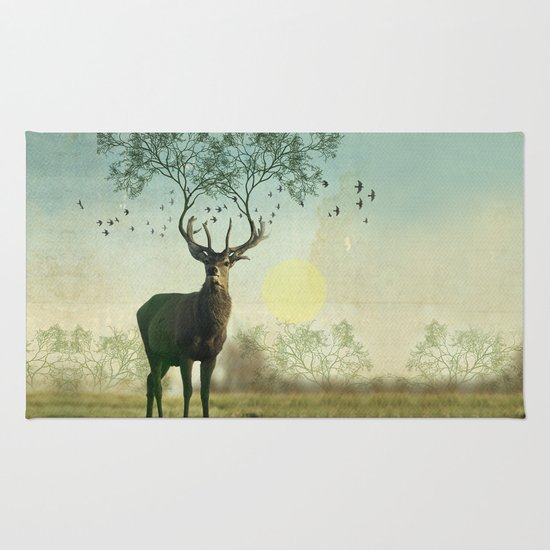 Evergreen Stage Horn Rug