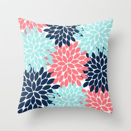 Navy Coral Aqua Floral Pattern Flower Burst Petals Throw Pillow