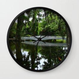 White Bridge On Magnolia Plantation Wall Clock