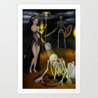 skeleton Art Prints featuring Skeleton by Egberto Fuentes
