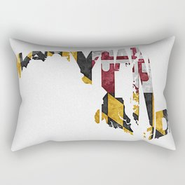 Maryland Typographic Flag Map Art Rectangular Pillow