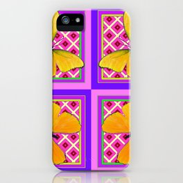Decorative Golden Butterflies Purple Pink Pattern Art iPhone Case