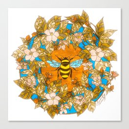 Bumblebee In Wild Rose Wreath Canvas Print