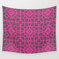 gray pattern Wall Tapestries featuring Magenta Gray pattern by xiari