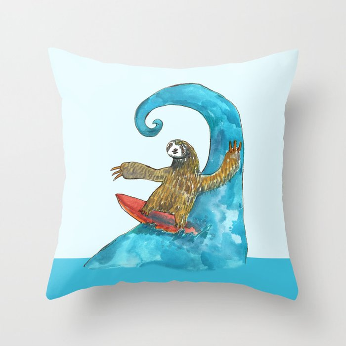 surfing sloth in the spring Throw Pillow