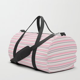 Classic Pink and Gray Stripes Duffle Bag