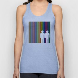 Multicolored lines simulating the rainbow with black background with two men Unisex Tank Top