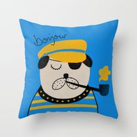 bonjour Throw Pillows featuring Bonjour by Farnell