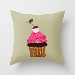 Cherry cupcake - sweet shop collection Throw Pillow