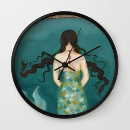 Mermaid Girl in the Midway, or She Knows Without Knowing Wall Clock