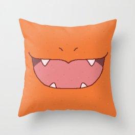 Pixel Fire Starter Mouth Throw Pillow