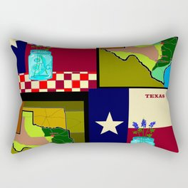A Texas Quilt, State Flag and Blue Bonnets Rectangular Pillow