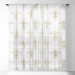 Gold Bee Pattern Sheer Curtain