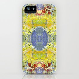 Psycho - UFO Landing in Golden Field surrounded by Inhabitable Lands by annmariescreations iPhone Case