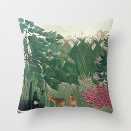The Waterfall by Henri Rousseau 1910 // Jungle Waterfall Deer Indigenous People Flowers Plant Scene Throw Pillow