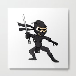 skull ninja cartoon. Metal Print