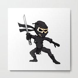 skull ninja cartoon. Metal Print