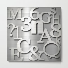 Silver Metallic Letters Numbers & Symbols Typography Metal Print