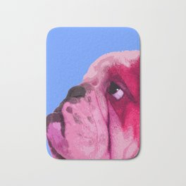 English bulldog portrait, Blue Pop art. Bath Mat