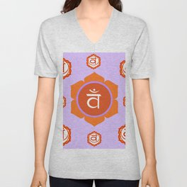 SACRAL SANSKRIT CHAKRAS  ASTRAL PURPLE PSYCHIC WHEEL Unisex V-Neck