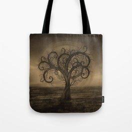 Golden Spiral Tree Sepia Tote Bag