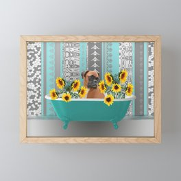 Turquoise Bathtub with Boxer dog and sunflowers Framed Mini Art Print