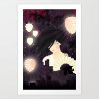 tokyo Art Prints featuring Tokyo by Jenny Lloyd Illustration