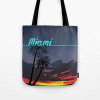 miami Tote Bags featuring Miami by Nioko