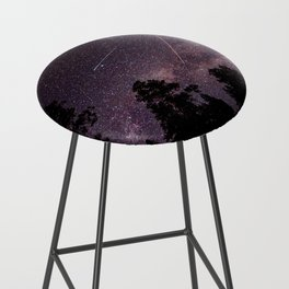 Busy Sky - Shooting Stars, Planes and Satellites in Colorado Night Sky Bar Stool