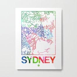 Sydney Watercolor Street Map Metal Print
