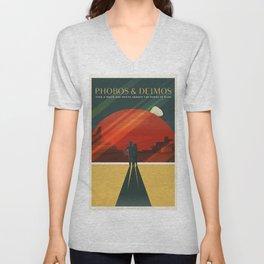 Travel Poster Phobos and Deimos (2015) Adventure awaits Explore Mars Ultimate Vacation Destinations Unisex V-Neck