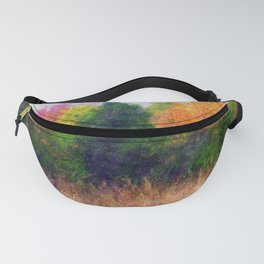 Oil Painting Abstract For Autumn Landscape Trees In Fall Season Fanny Pack