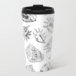 collection of sea shells, black contour on white background Travel Mug