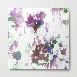 Lavender Mint Splash Abstract Design Metal Print