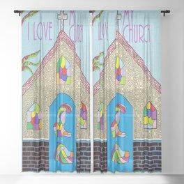 ASL I Love my Church Sheer Curtain