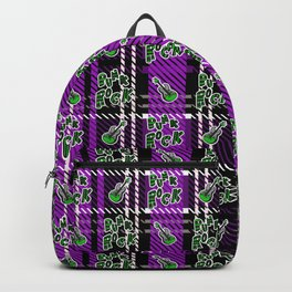 Cute punk rock guitar on plaid background.  Backpack