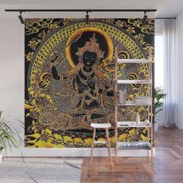 Manjushree Black Gold Thangka Wall Mural