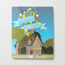 adventure awaits with balloons and house Metal Print