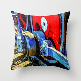 Old Steam Locomotive Eccentric And Red Wheels Of Iron Throw Pillow