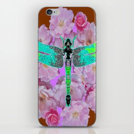 EMERALD DRAGONFLY PINK ROSES COFFEE BROWN iPhone Skin