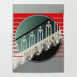 Stairway - red graphic Poster
