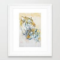 tigers Framed Art Prints featuring Tigers by Sasita Samarnpharb