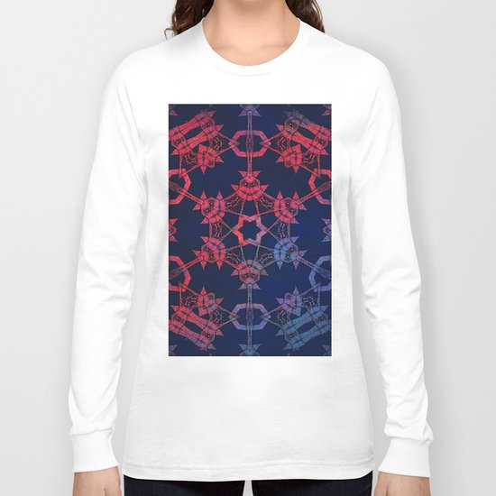 Blue and red glow tribal mandala Long Sleeve T-shirt