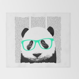 Panda with teal glasses Throw Blanket