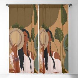 Boho Female Tropical Blackout Curtain
