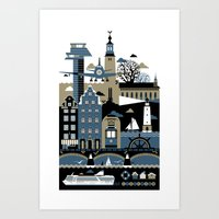 stockholm Art Prints featuring Stockholm by koivo