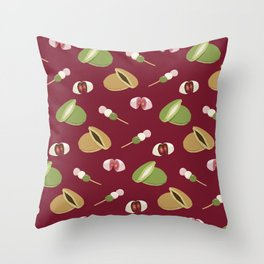 Japanese sweets (Burgundy) Throw Pillow