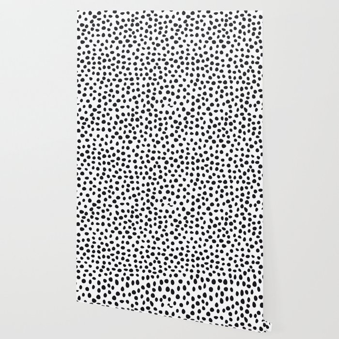 Hand Drawn Polka Dots, Spots Black &  White Wallpaper