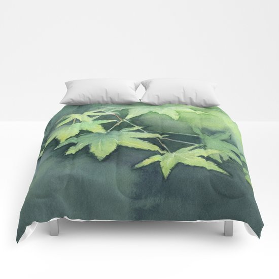 Japanese Maple Watercolor, Green Leaves, Tree Branch Comforters